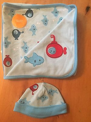 Gymboree Newborn Boy Blanket and Hat. Baby Blue with red and blue fish.
