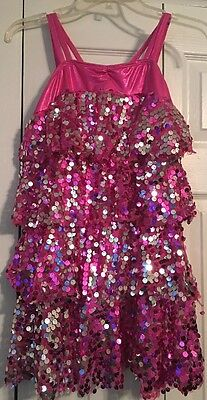 Double Platinum Performance Wear Adult Medium Pink/Silver Sequins Dance Outfit