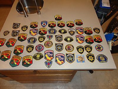 Lot of 50 Police, Sheriff and Fire California Patches Lot Collection