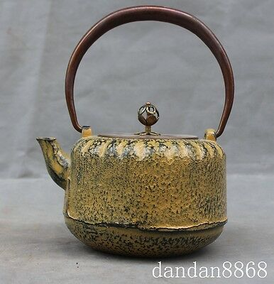 rare Japan Japanese iron teapot kettle Water Tea Pot Flagon bronze handle statue