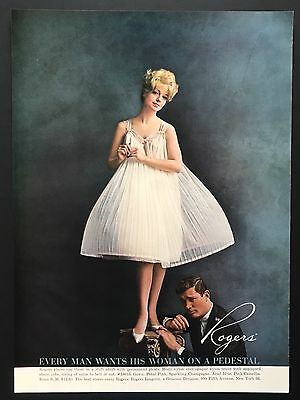 1961 Vintage Print Ad ROGERS Woman's Fashion Pleated Dress Man At Woman's Feet