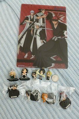 Lot of Misc Bleach Mini Pencil Board Figures & Keychains (Renji, Byakuya, Kon)