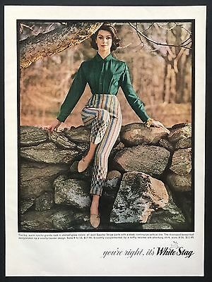 1961 Vintage Print Ad WHITE STAG Slim Fashion Chic Style Sitting On Rocks