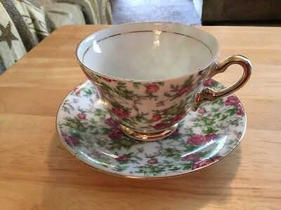 Napco Roses chintz tea cup and saucer