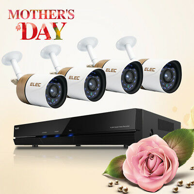 ELEC 8 CH DVR Home CCTV Security System w/ 4x Outdoor 1500TVL Video IR Camera