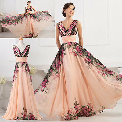 Floral Long Maxi Chiffon Evening Formal Party Ball Gown Prom Bridesmaid Dress