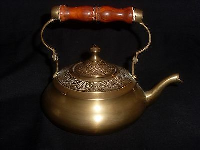 Small Antique Brass Flat Base Teapot
