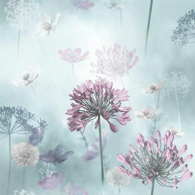 Duck Egg Lilac Floral Wallpaper Spring Meadow Flower Field Magical Arthouse