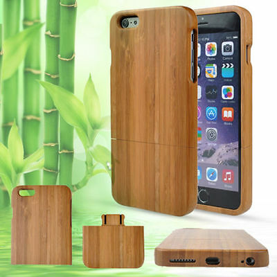 Genuine Natural Wood Wooden Bamboo Shockproof Hybrid Hard Case Covers Iphone WS