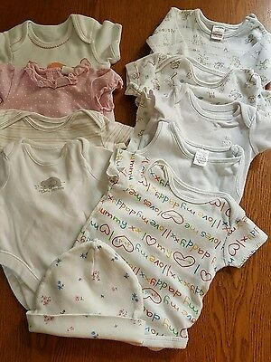 lot 6, bundle of girls 0-3 month body suits , 10 items