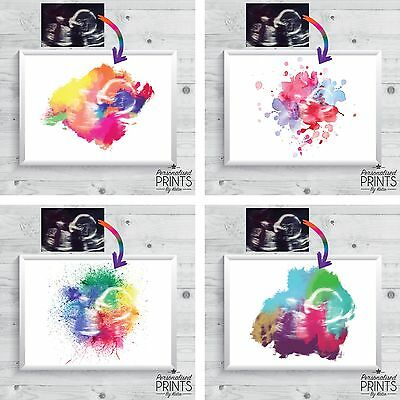"5x7"" Baby Scan Watercolour Effect Print - Keepsake - Rainbow - WITH/WITHOUT TEXT"