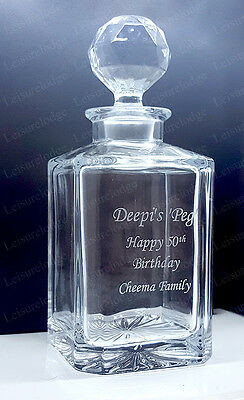 LUXURY TWO GLASS CRYSTAL DECANTER SET 75cl Mens Personalised Gift AMAZING VALUE