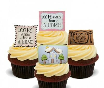 (Pack of 12) - First House / First Home, Edible Cake Decorations- Stand-up