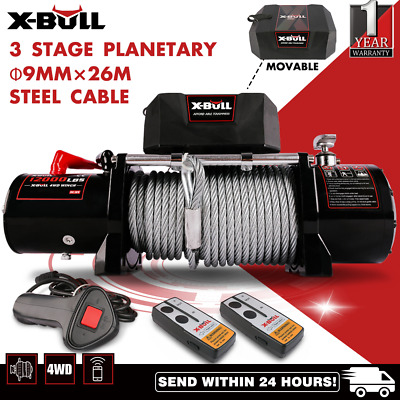 12V 12000LBS/5454KGS Electric Winch Wireless Steel Cable 2x Remote 4WD NEW
