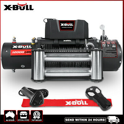 X-BULL 12000LB Electric Winch Wireless Steel Cable 12V 5454kg 2x Remote 4WD NEW