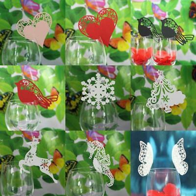 50Pcs Wedding Christmas Party Name Place Cards For Wine Glass Hollow Out Pattern