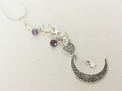 Wiccan Moon Car Mirror Charm Suncatcher House Tree Crystal Pagan Amethyst