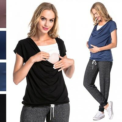 Happy Mama. Women's Nursing Double Layer Top Scoop Neck Breastfeeding. 707p