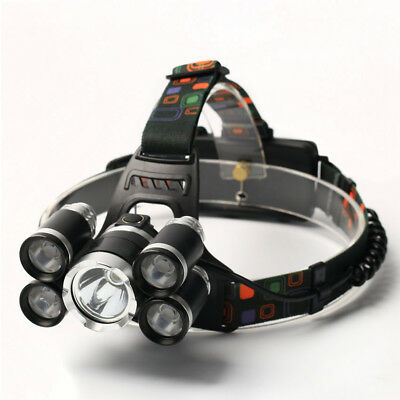 35000LM 5X CRE T6 LED Headlamp 18650 USB Rechargeable Headlight Head Torch Light