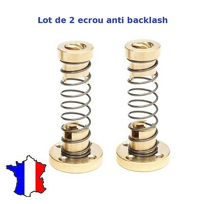 2 x Ecrou anti backlash pour vis trapézoïdale 8mm imprimante 3D printer  nut