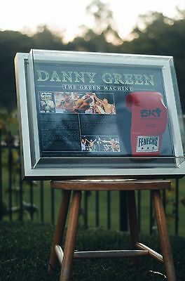 DANNY GREEN SIGNED BOXING GLOVE IN FRAME with game statistics