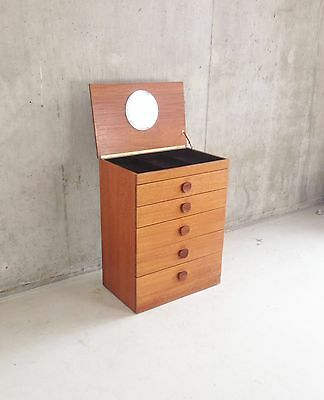 1970's mid century teak chest of drawers with lift up mirror / jewellery tray