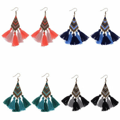 Bohemian Boho Triangle Carving String Tassels Drop Dangle Women Fashion Earrings