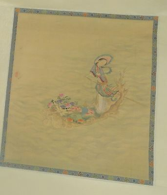 Antique Chinese or Japanese Scroll Painting of a Lady Watercolor Two Seals