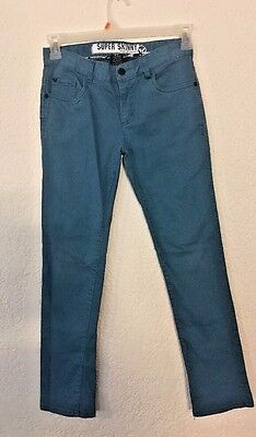 Shaun White Kids Super Skinny Jeans Teal Size 14 Adjustable Waist Pants Boys