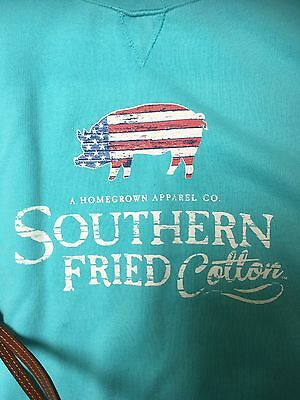 Southern Fried Cotton Long Sleeve Tee Sweat Shirt XL Turquoise NEW