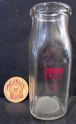 Vintage PEVELY DAIRY CO St Louis MO Half Pint Glass Milk Bottle with PEVELY Top