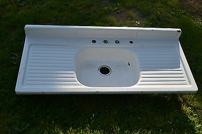 Vintage Porcelain Metal Double Drainboard Kitchen Sink