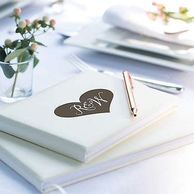 Heart Initials Guest Book, Ivory Leather Guest Book, Wedding (OHSO772)