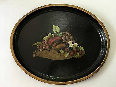 ViINTAGE OVAL TOLE PAINTED TIN TRAY - FRUIT LEAVES FLOWERS