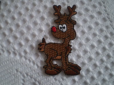 Iron On Christmas Patch Badge Rudolph The Red Nosed Reindeer! 100% Embroidered