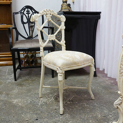 Beautiful White Rope back Mahogany side Vanity Chair with light damask fabric