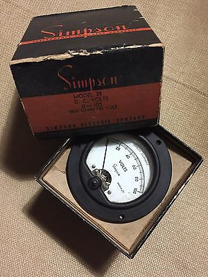 Vintage Simpson DC Milliamperes Meter Measures 0-100 Microamps Model 25