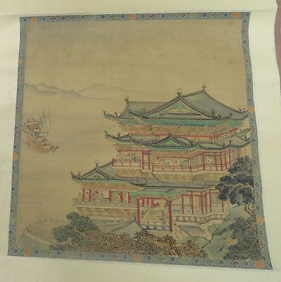 Antique Vintage Chinese or Japanese Watercolor Ink on Silk Print Temple
