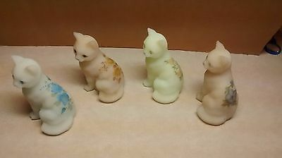 """4 Vintage Hand Painted Fenton Glass Cat Figurines Signed 4"""""""
