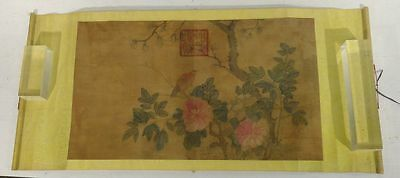 Antique Vintage CHinese Scroll Painting Watercolor Bird on Branch Imperial Copy
