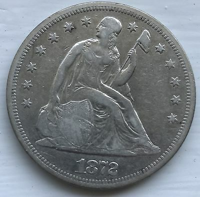 1872 Seated Liberty Silver Dollar XF Coin