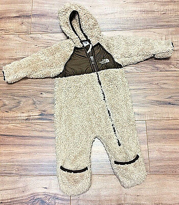 GUC 3-6M Brown Unisex North Face Baby Fleece Hooded Coverall
