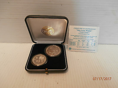 Israel 1994 Holy Land Wildlife-Leopard and Palm Tree Silver Coins W/Case & COA