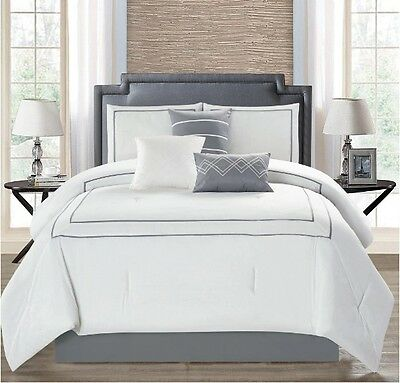 Elegant White Hotel Style Textured Comforter 7 pcs King Queen Bedding