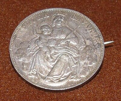 1868 Patrona Bavaria German Germany Bavaria Thaler Silver Coin Pin