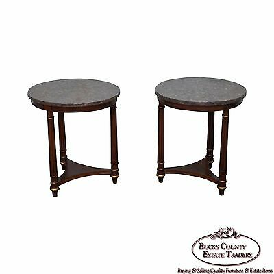 Heritage Pair of Round Marble Top French Empire Style Mahogany Side Table