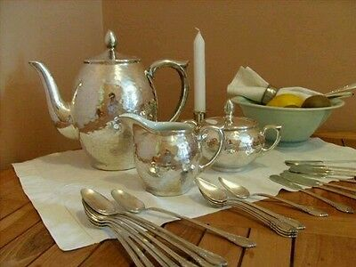 WMF, 1930, hammered silver coffee pot, milk pitcher, sugar bowl, made in Germany