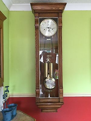 Vintage W K Sessions Oak Double weighted Wall Clock With Key and full chimes.