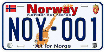Norway Aluminum Any Text Personalized Novelty Car License Plate