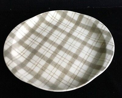 Vintage W S George Brown Gray Tweed Plaid Platter